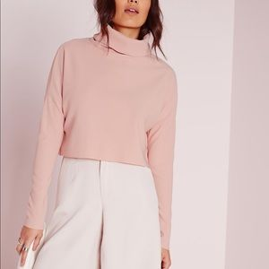Missguided blush pink turtleneck crop top
